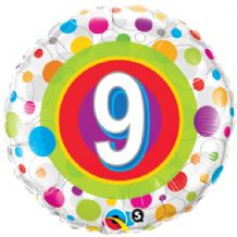 "Age 9 Colourful Dots Foil Balloon (18"") 1pc"
